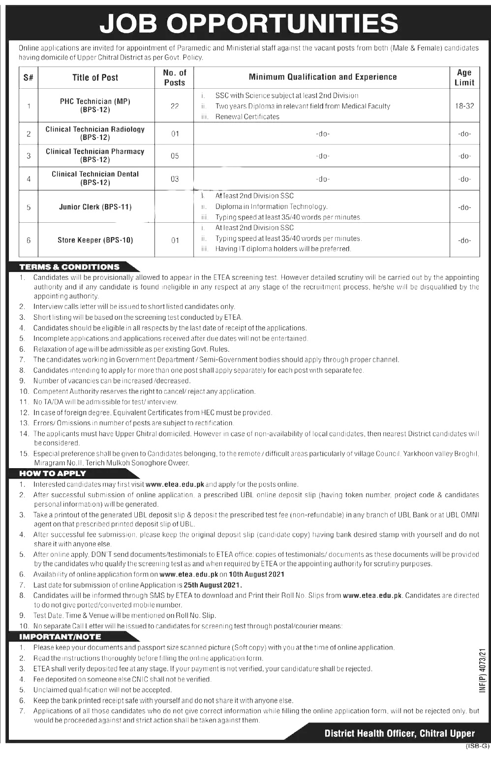 District Health Authority Chitral ETEA Jobs 2021