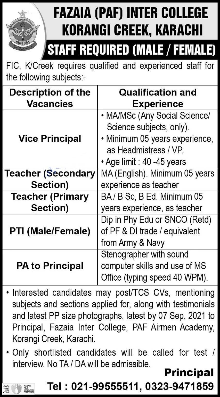 Fazaia Inter College Korangi Creek Karachi Jobs 2021