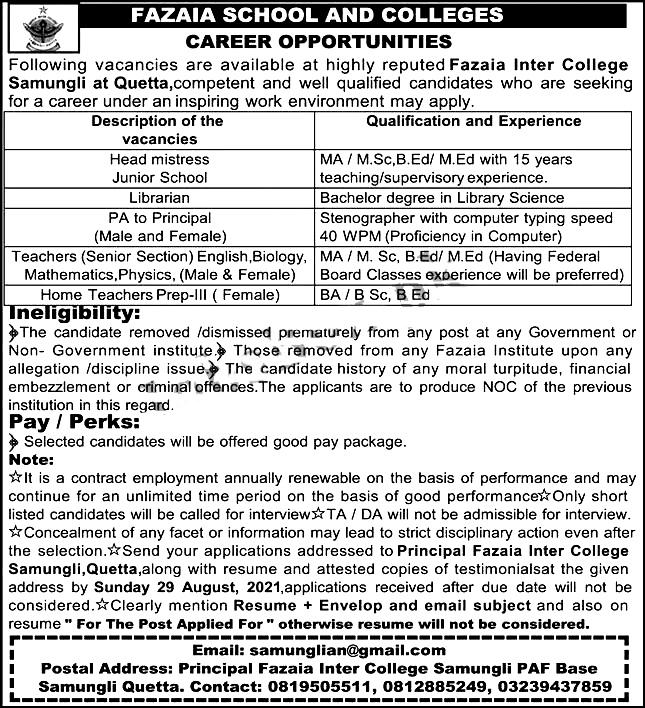Fazaia Inter College Samungli Quetta Jobs 2021