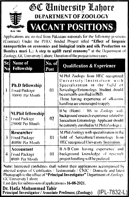 Government College University GCU Lahore Jobs 2021