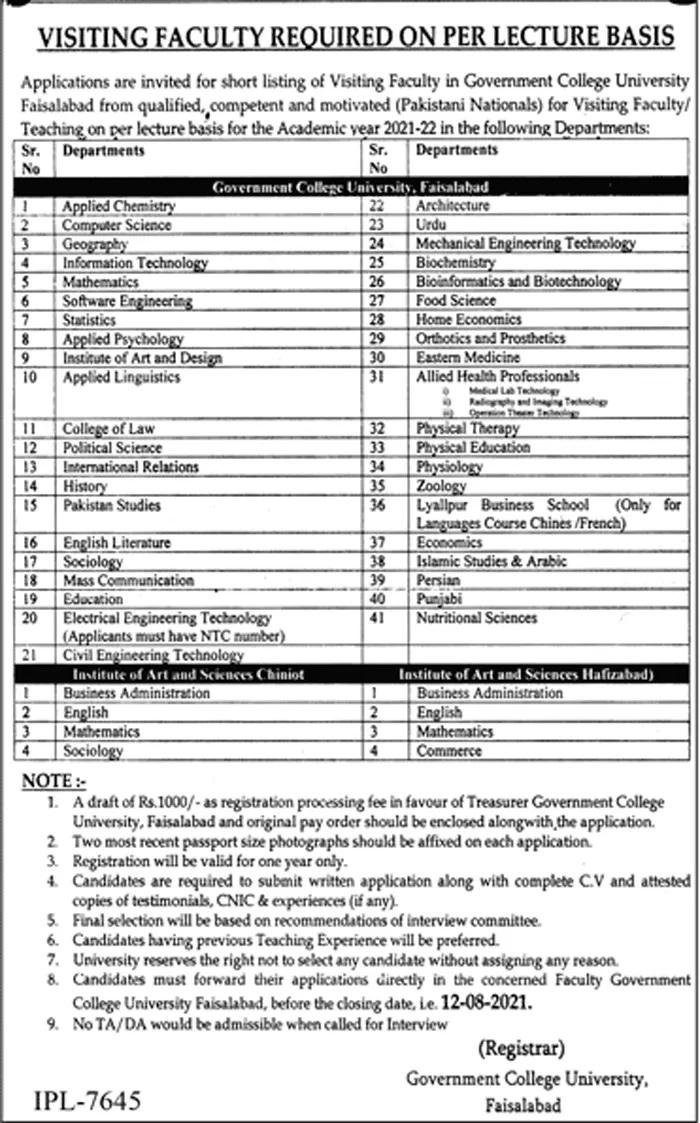 Government College University GCU Faisalabad Jobs 2021