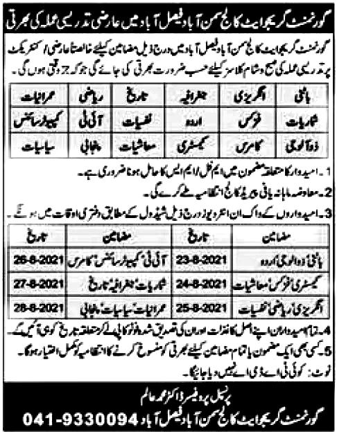 Government Graduate College Samanabad Faisalabad Jobs 2021
