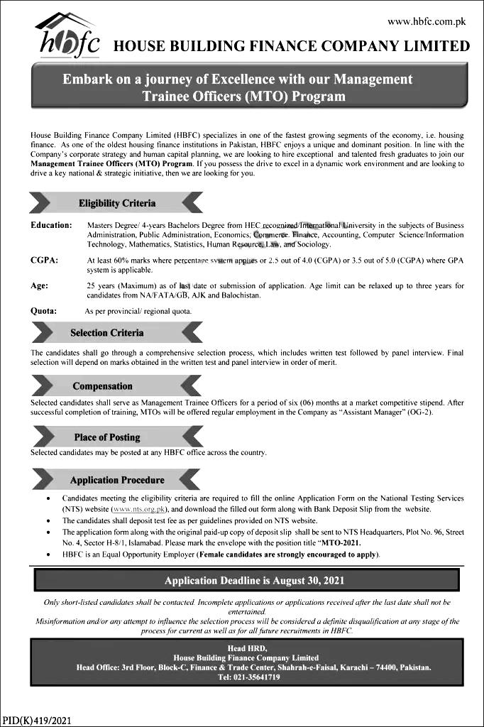 House Building Finance Company HBFC Karachi NTS Jobs 2021