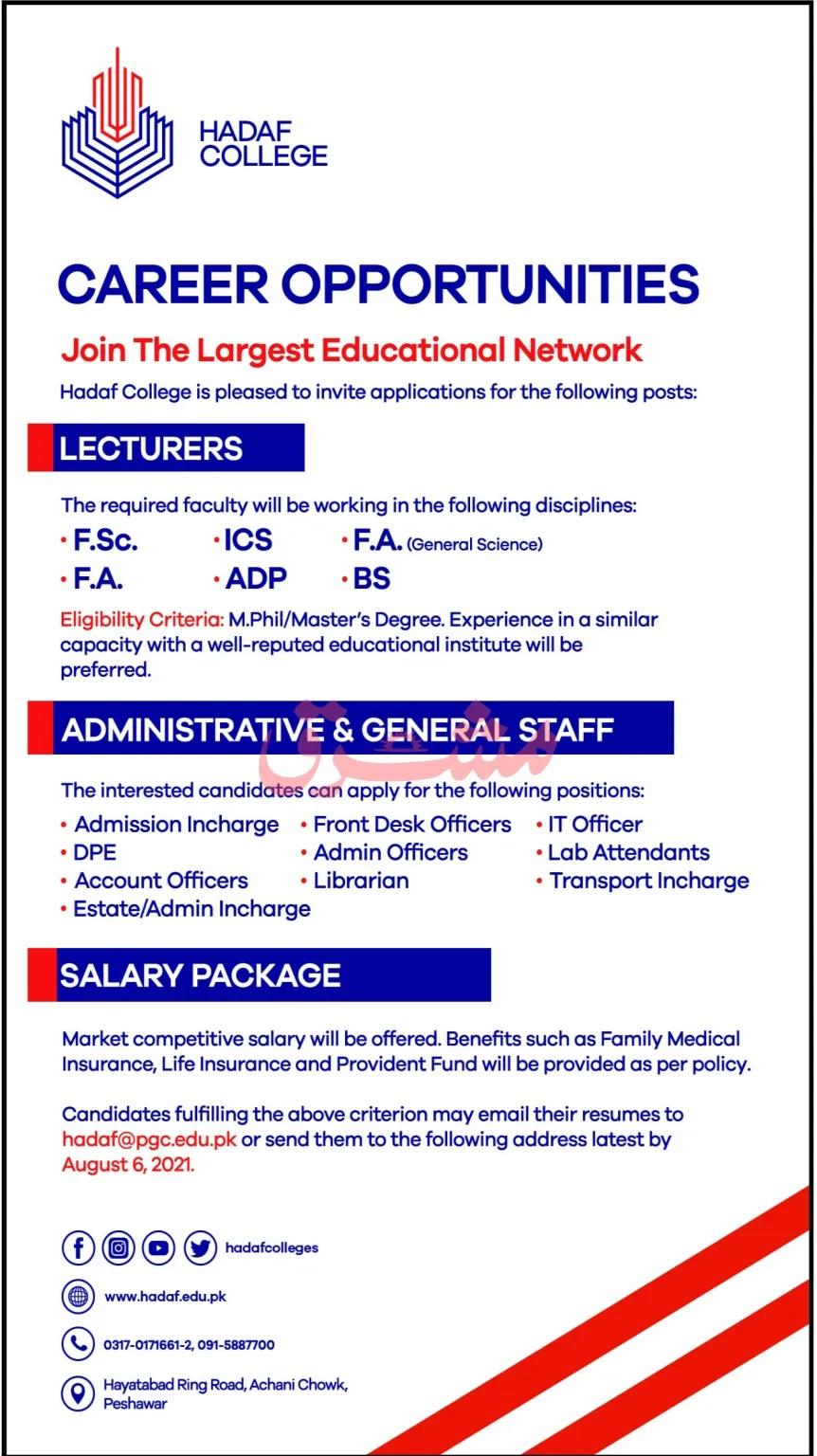 Hadaf College Peshawar Jobs 2021