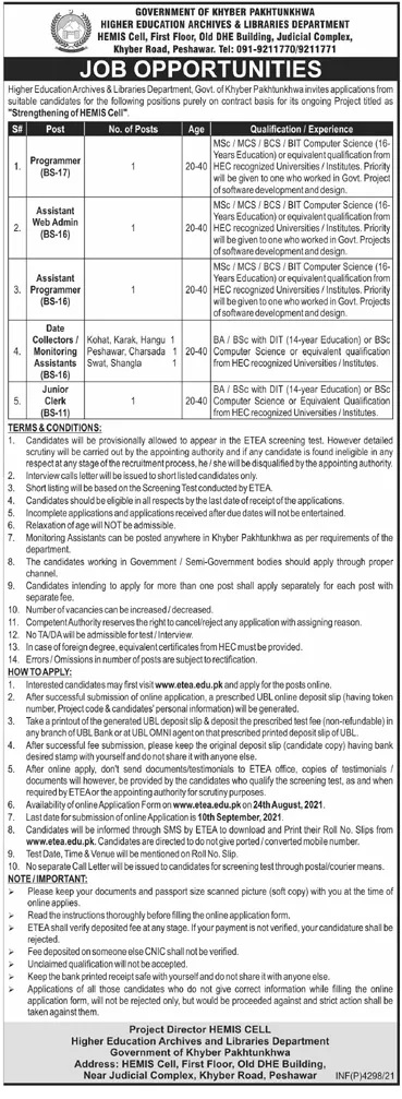 Higher Education Archives and Libraries Department KPK ETEA Jobs 2021
