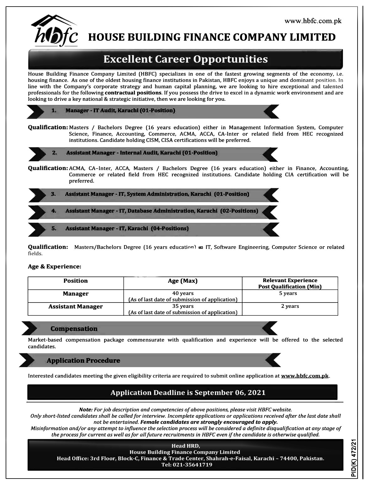 House Building Finance Company HBFC Karachi Jobs 2021