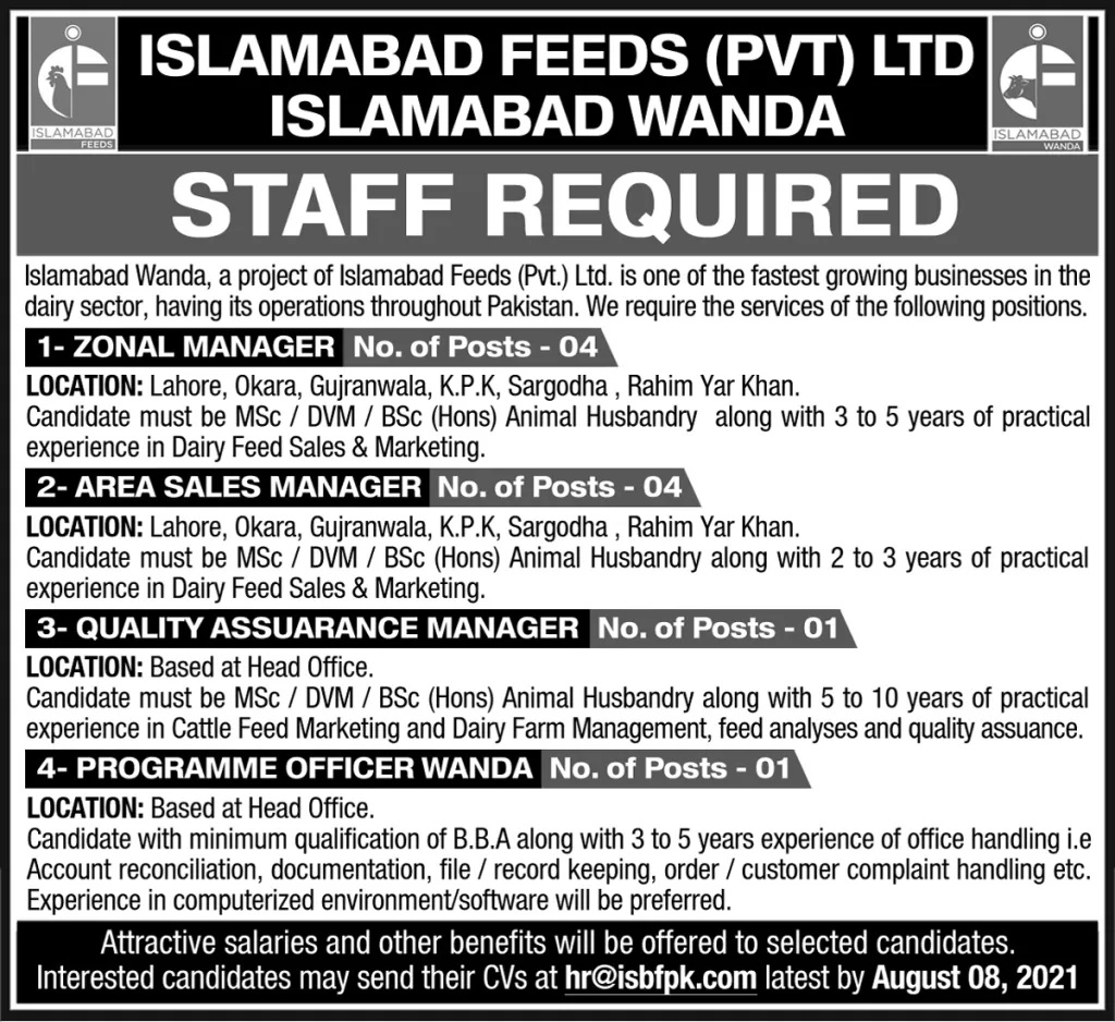 Islamabad Feeds Private Limited IFPL Jobs 2021