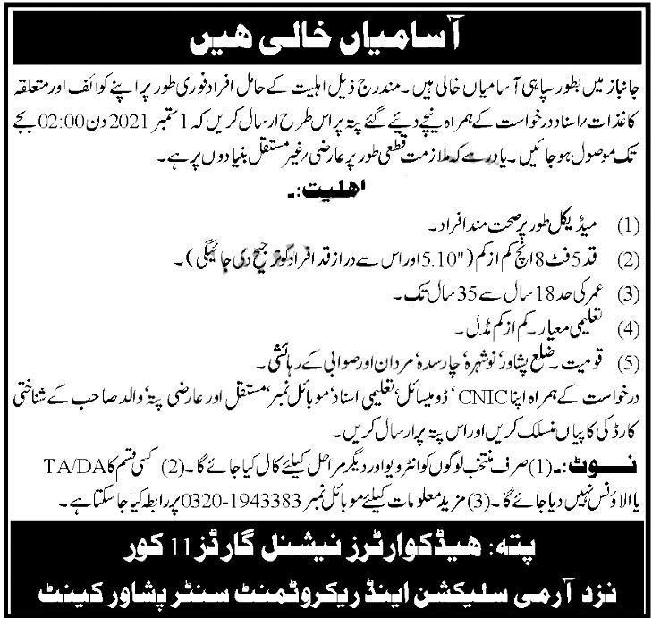 Join Pak Army Janbaz Force Jobs 2021