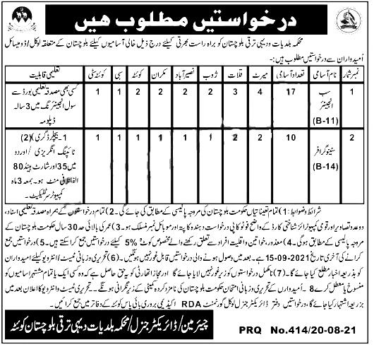 Local Government & Rural Development Department Balochistan Jobs 2021