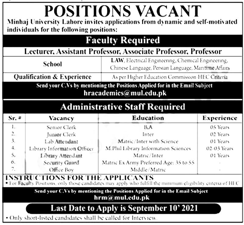 Minhaj University Lahore MUL Jobs 2021