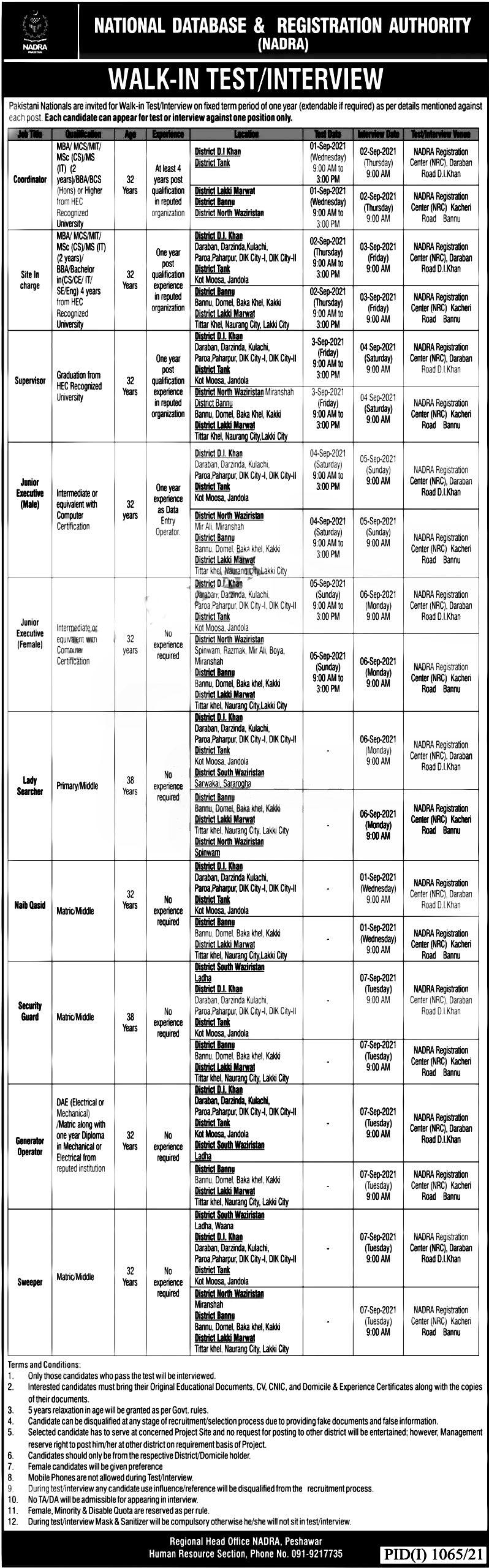 National Database and Registration Authority NADRA KPK Jobs 2021