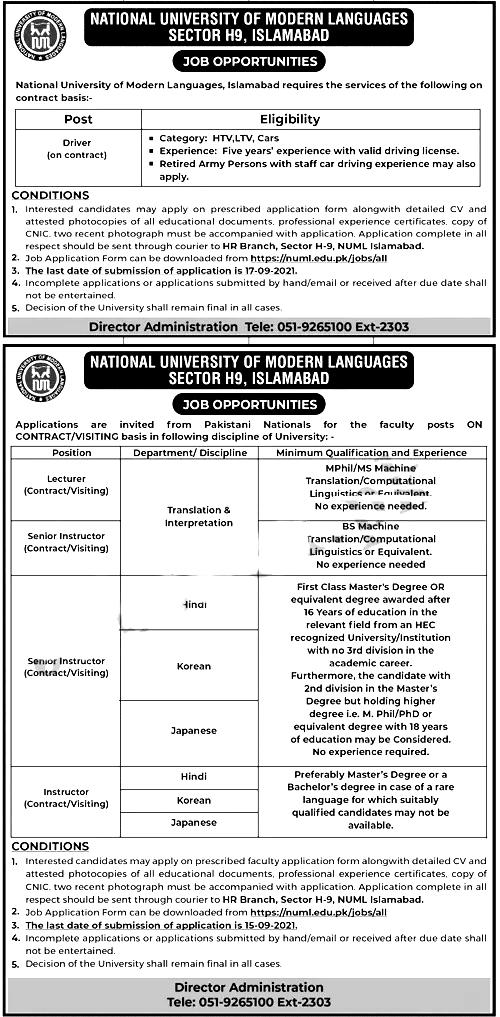 National University of Modern Languages NUML Islamabad Jobs 2021
