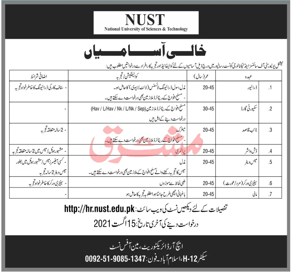 National University of Science & Technology NUST Islamabad Jobs 2021