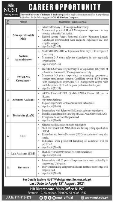 National University of Science & Technology NUST Risalpur Campus Jobs 2021