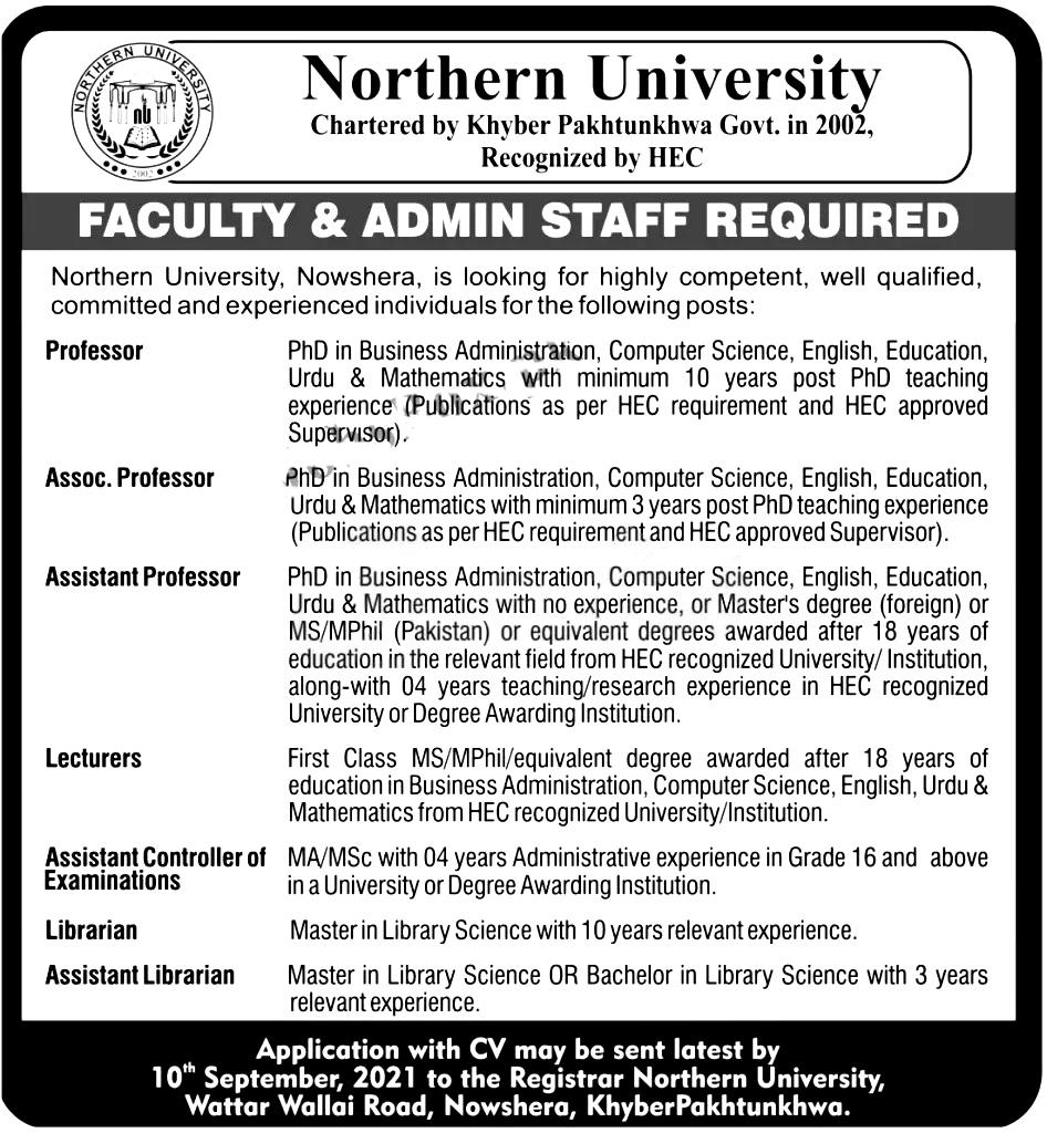 Northern University Nowshera NUN Jobs 2021