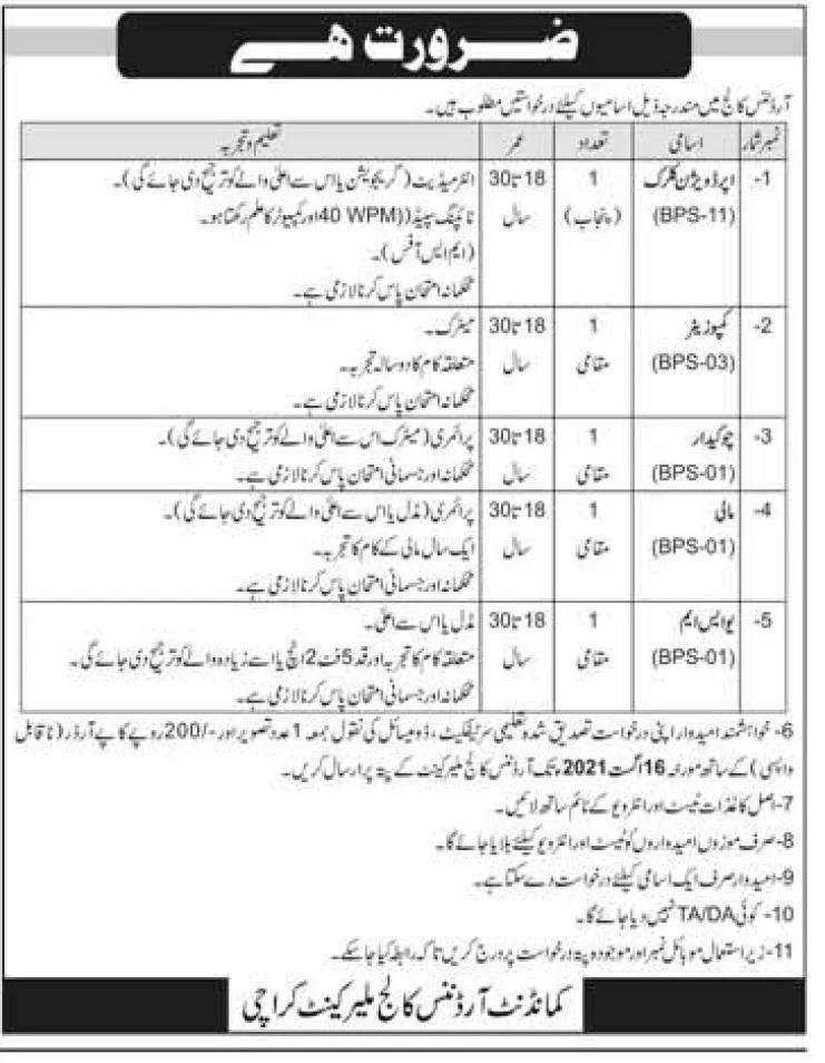 Ordnance College Karachi OCK Jobs 2021