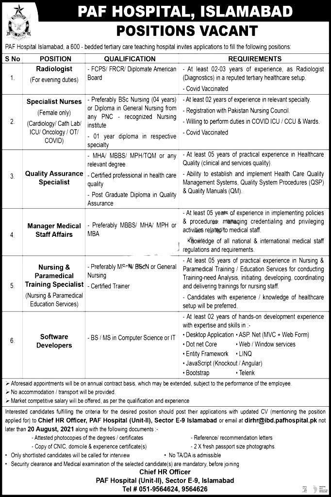 Pakistan Air Force PAF Hospital Islamabad Jobs 2021