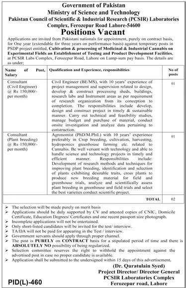 Pakistan Council of Scientific and Industrial Research PCSIR Islamabad Jobs 2021