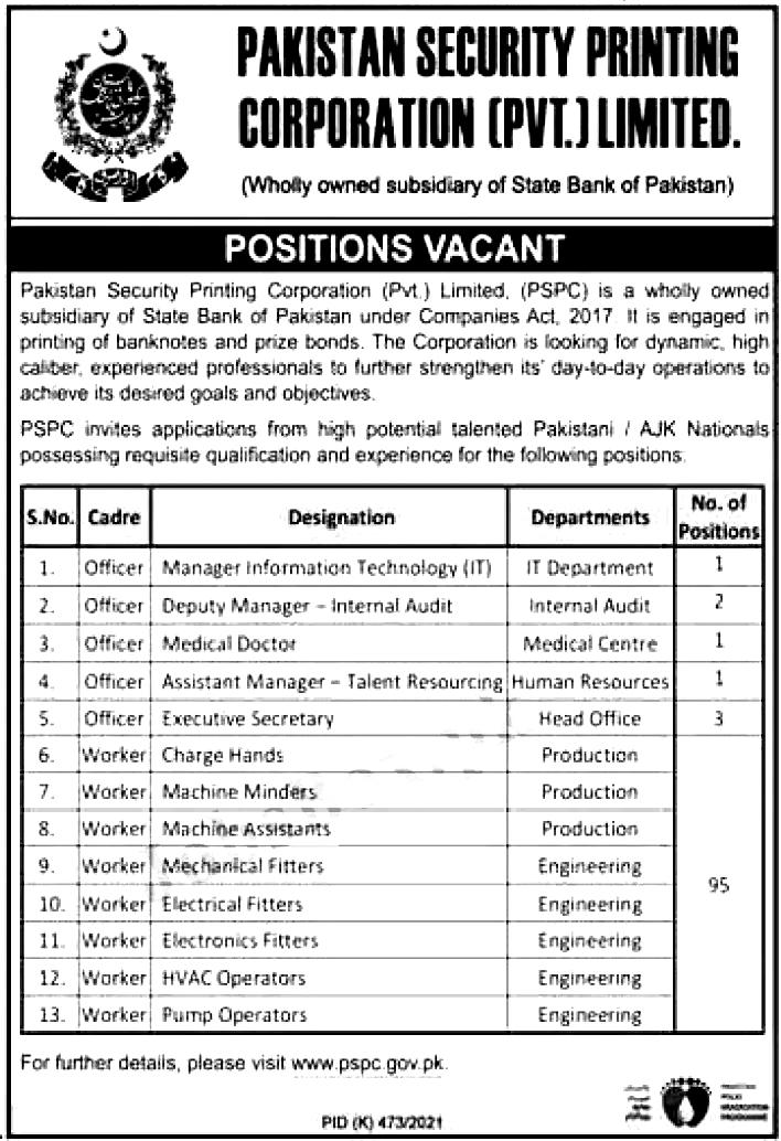 Pakistan Security Printing Corporation PSPC Karachi Jobs 2021