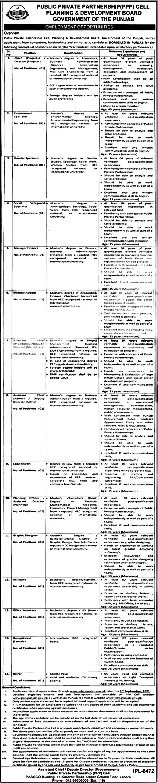 Planning & Development Board Punjab PPP Cell Jobs 2021
