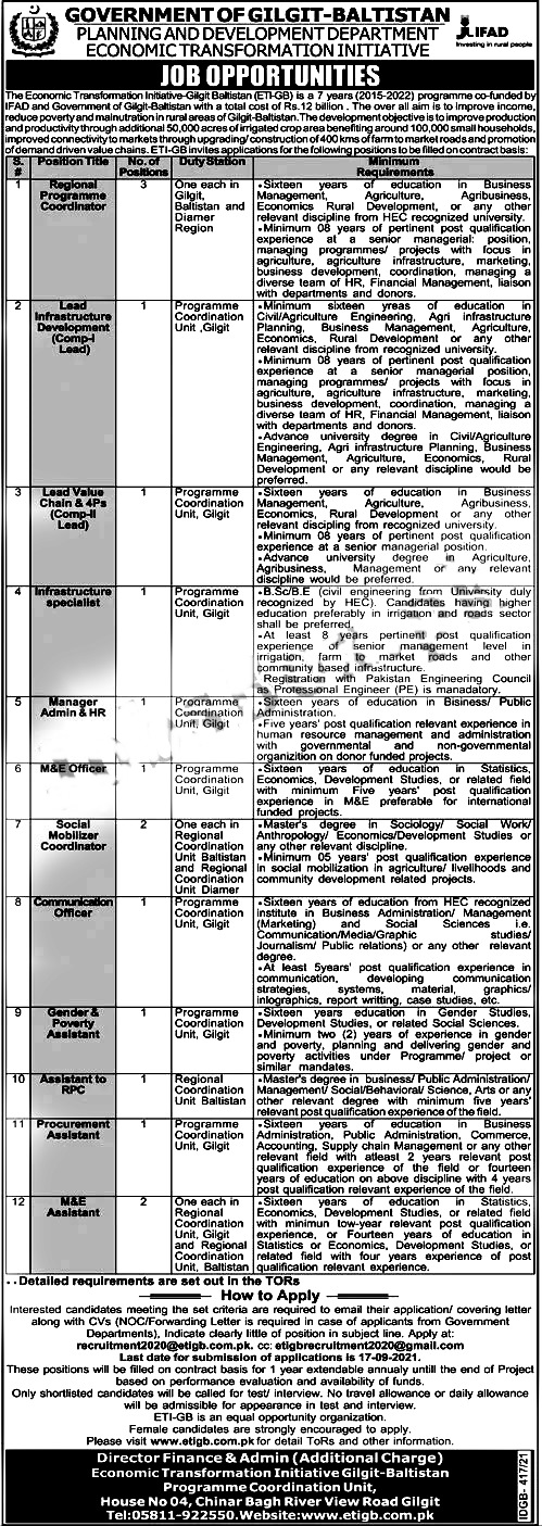Planning and Development Department Gilgit Baltistan Jobs 2021