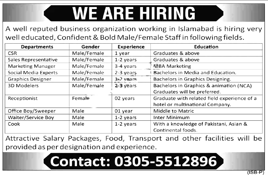 Private Business Organization PBO Islamabad Jobs 2021
