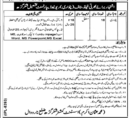 Revenue Department Khushab Patwari Jobs 2021
