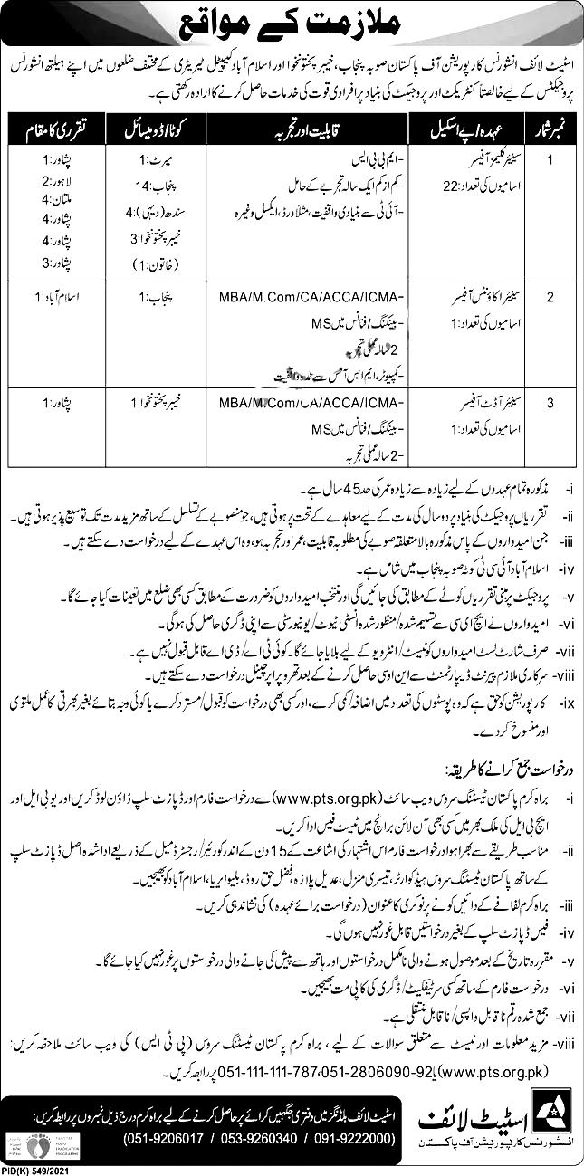 State Life Insurance Corporation of Pakistan PTS Jobs 2021