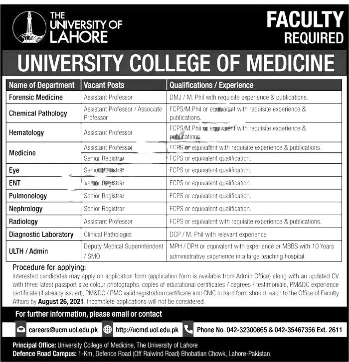The University of Lahore UOL Jobs 2021