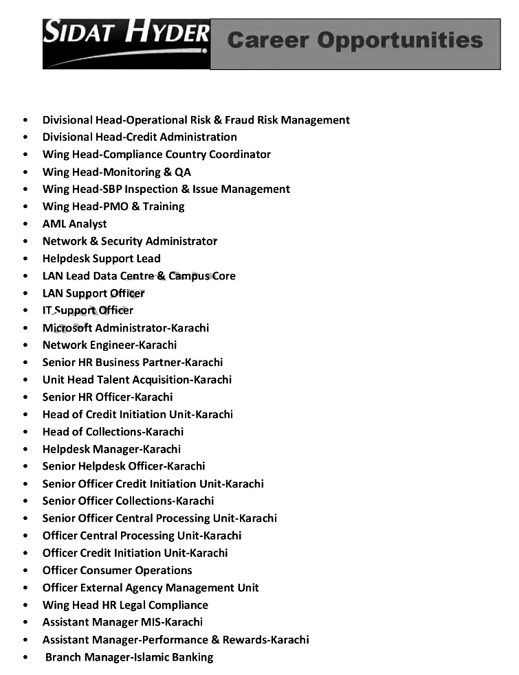 Sidat Hyder Bank SHB Pakistan Jobs 2021