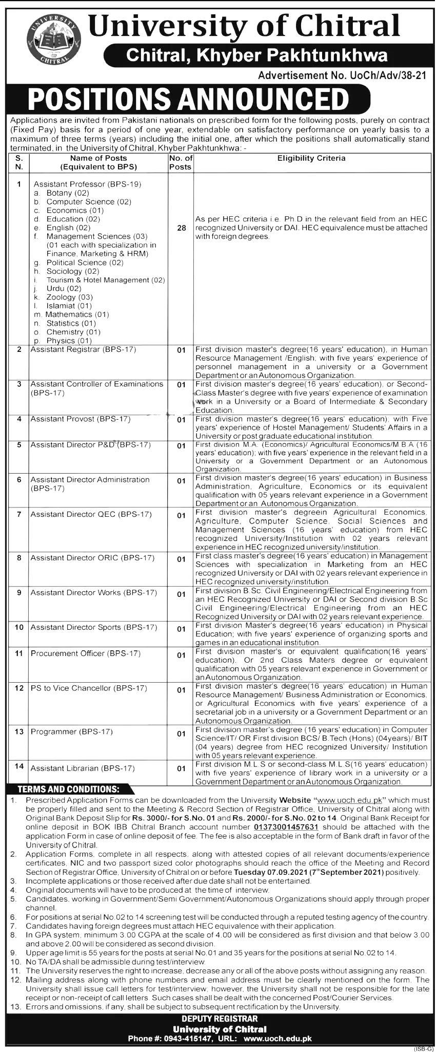 University of Chitral UOCH Chitral Jobs 2021