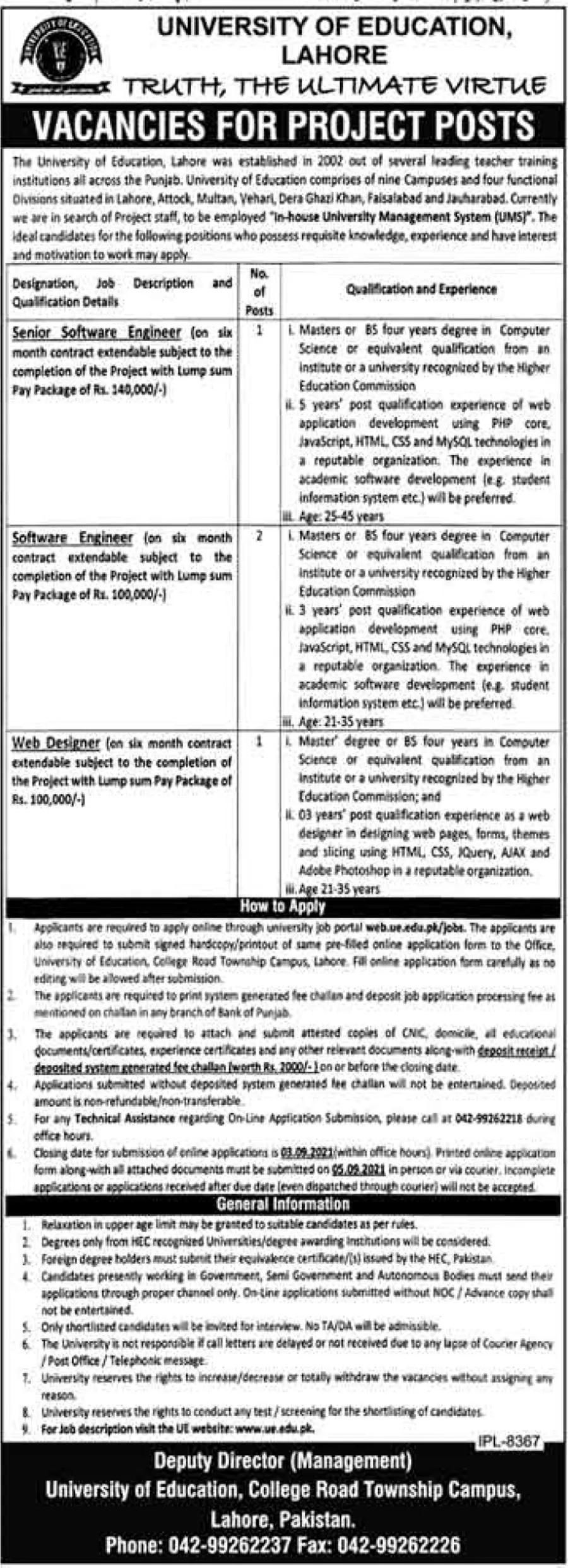 University of Education UE Lahore Jobs 2021