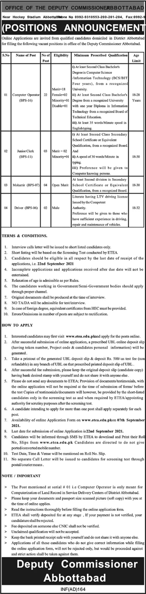 Deputy Commissioner Office Abbottabad ETEA Jobs 2021