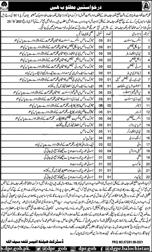 Health Department Balochistan Jobs 2021