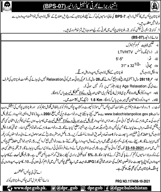 Balochistan Police Constables Jobs 2021