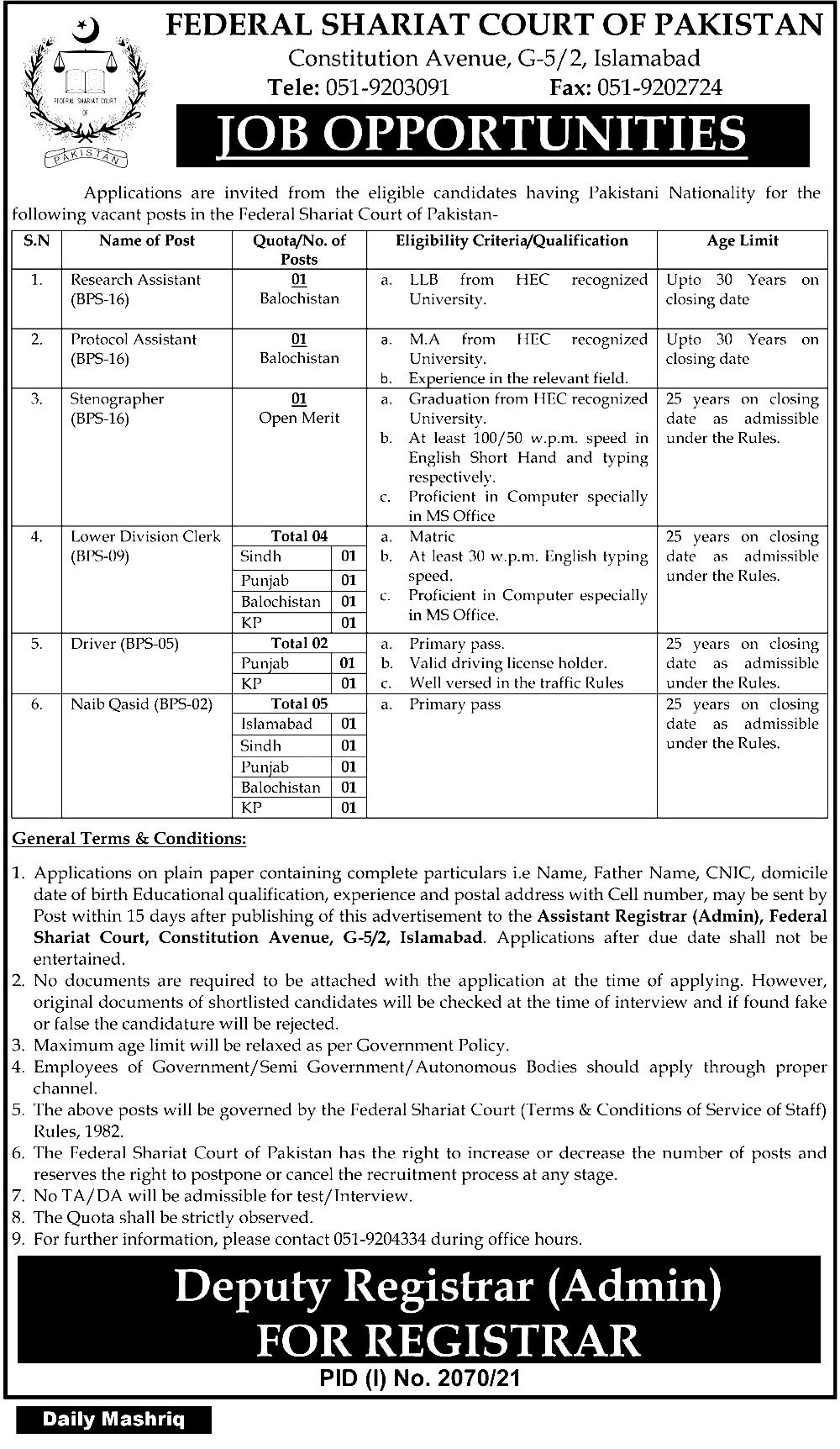 Federal Shariat Court of Pakistan  Islamabad Jobs 2021