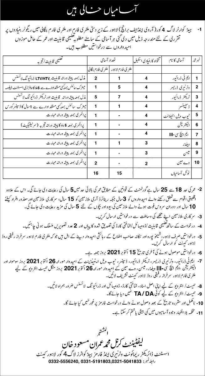Remount Veterinary and Forms Pak Army Lahore Jobs 2021