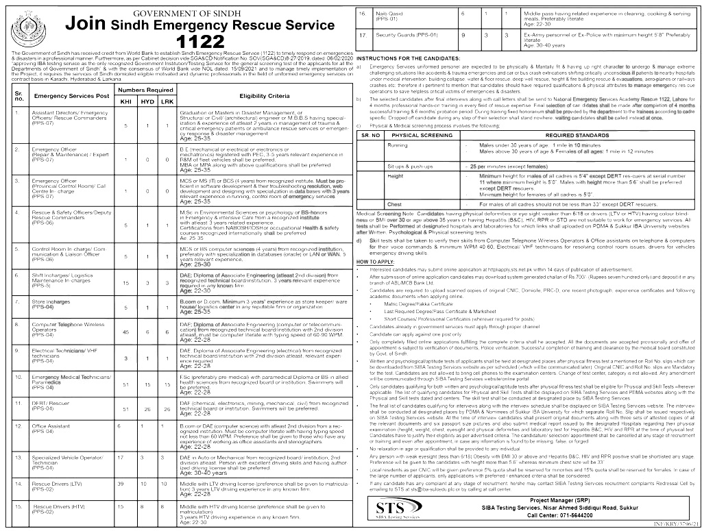 Sindh Rescue 1122 jobs 2021 STS Apply Online